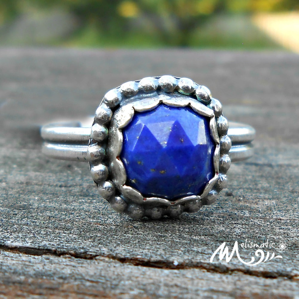 Lapis and Sterling Ring. Square, Faceted Blue Lapis and Sterling Ring.  Size 8.5