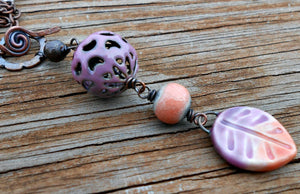 Peachy Lilac - Ceramic, Torch-fired Enamel and Copper Linear Necklace