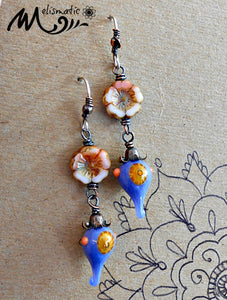 Peach & Periwinkle - Artisan Glass, Czech Glass, Copper and Sterling Silver Earrings