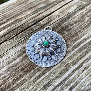 Sterling Silver and Green Agate Mandala Pendant