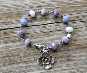 Wintery Mauve - Glass and Sterling Bracelet