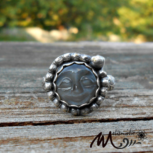 Gray Moonstone and Sterling Ring. Moon face Ring.  Ring Size 7.5