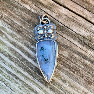 Ochoco Moss Agate and Sterling Silver Pendant