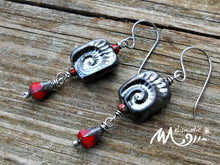 Load image into Gallery viewer, Gothic Ammonite Artisan Glass Earrings