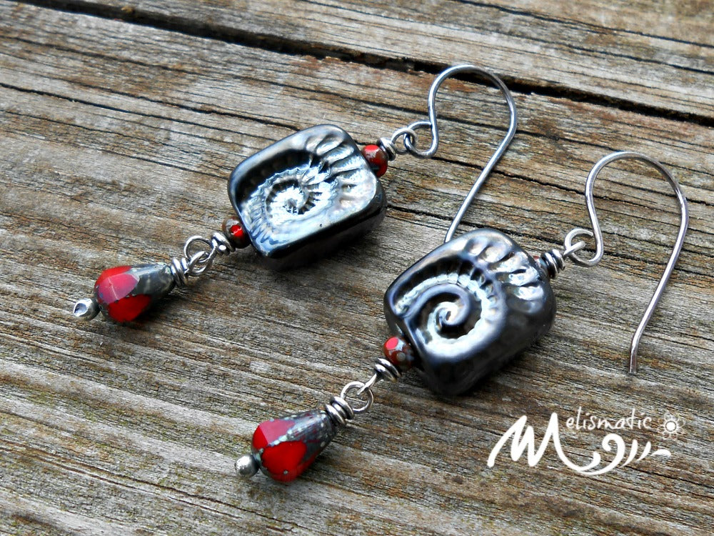 Gothic Ammonite Artisan Glass Earrings