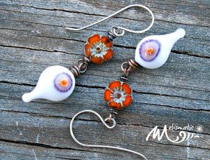 Monster Eyes  - Artisan Glass, Czech Glass, and Sterling Silver Earrings