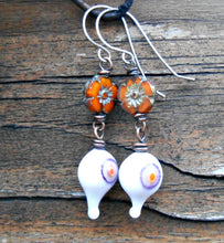 Load image into Gallery viewer, Monster Eyes  - Artisan Glass, Czech Glass, and Sterling Silver Earrings