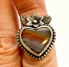 Load image into Gallery viewer, Flower of Peach Agate and Sterling Silver Ring, Size 8