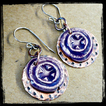 Load image into Gallery viewer, Purple Relics - Ceramic, Copper, and Sterling Earrings