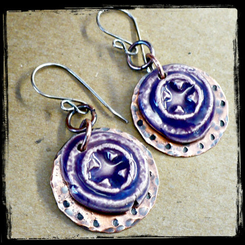 Purple Relics - Ceramic, Copper, and Sterling Earrings