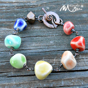 Pastel Rainbow - Porcelain and Copper Bracelet