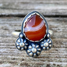 Load image into Gallery viewer, Red Banded Onyx and  Sterling Silver Ring