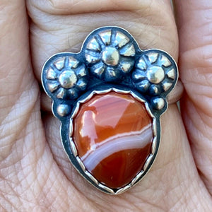 Red Banded Onyx and  Sterling Silver Ring