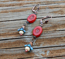 Load image into Gallery viewer, Red White and Blue - Czech Glass and Copper Earrings
