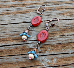 Red White and Blue - Czech Glass and Copper Earrings