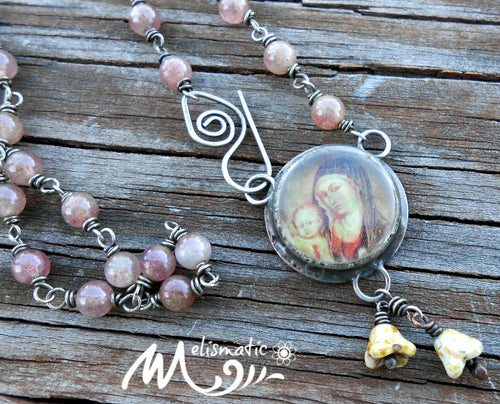 Motherhood 2 - Mixed-Media, Sterling and Stone Necklace
