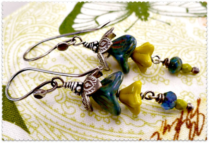 Sea Flowers - Czech Glass and Sterling Silver Earrings
