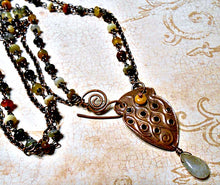 Load image into Gallery viewer, Tribal Shield - Copper, Serpentine & Quartz Necklace
