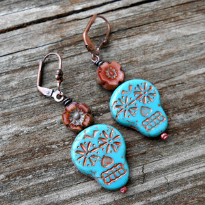 Skullies 4 - Czech Glass and Copper Earrings