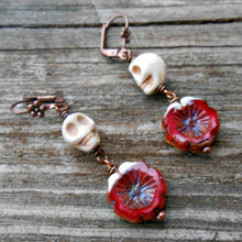 Load image into Gallery viewer, Skullies 7- Czech Glass and Copper Earrings
