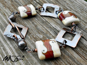 Squares - Artisan Glass and Copper Bracelet