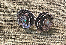 Load image into Gallery viewer, Abalone Shell and Sterling Flower Stud Earrings