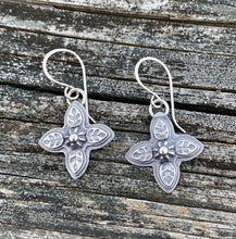 Load image into Gallery viewer, Leafy Cross - Sterling Silver Earrings