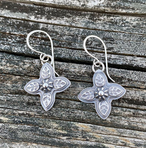 Leafy Cross - Sterling Silver Earrings