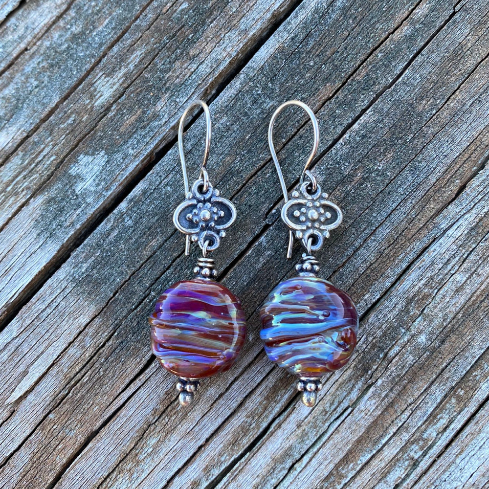 Swirled Wine - Artisan Glass and Sterling Silver Earrings