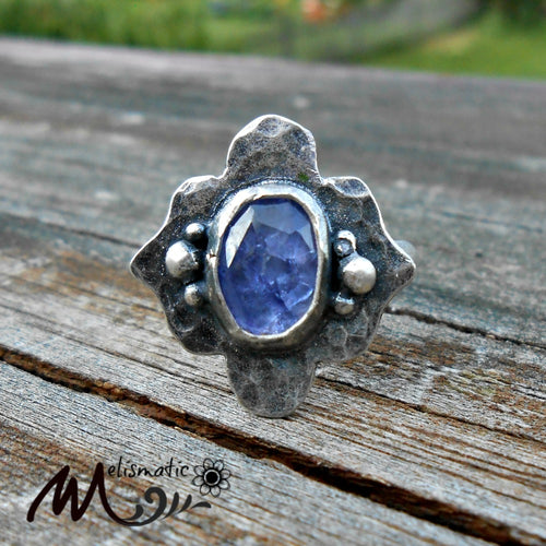Faceted Tanzanite and Sterling Ring. Periwinkle Blue Tanzanite Ring. Size 8.25.
