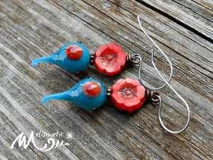 Teal & Vermillion - Artisan Glass, Czech Glass and Sterling Silver Earrings