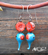 Load image into Gallery viewer, Teal & Vermillion - Artisan Glass, Czech Glass and Sterling Silver Earrings