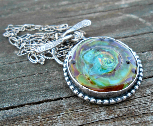 Tidal Pool - Artisan Lampwork Glass Cabochon and Sterling Necklace