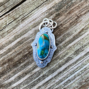 Turquoise Mountain and Sterling Silver Pendant