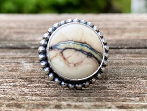 Artisan Lampwork and Sterling Ring. Silvered Ivory Artisan Glass Cabochon.  Ring Size 7.