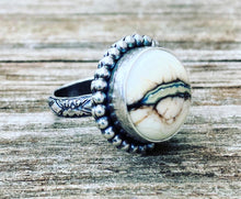 Load image into Gallery viewer, Artisan Lampwork and Sterling Ring. Silvered Ivory Artisan Glass Cabochon.  Ring Size 7.