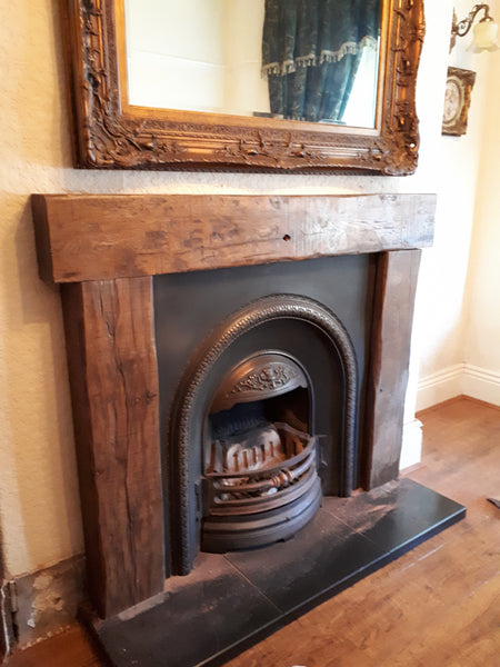 THREE PIECE OAK FIRE SURROUND MANTEL