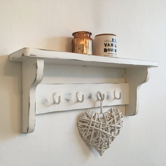 DISTRESSED CHIC COAT HOOK & SHELF