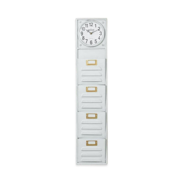 Tall Metal White Filing Wall Clock