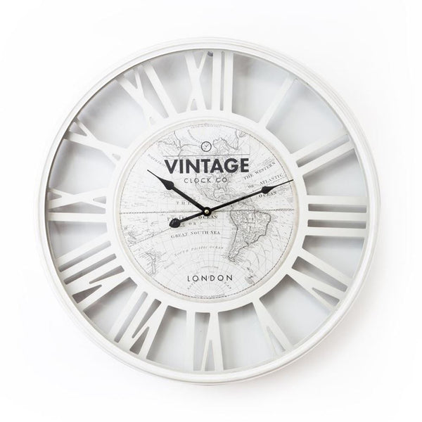 WHITE VINTAGE WORLD MAP CLOCK
