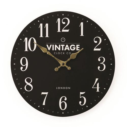 Small Flat Black Wall Clock