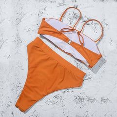 Sexy Bikinis Solid Push Up Bikini 2020 Hot Sale Padded Bra Straps High Waist Swimsuit Female Swimwear Women Bikinis
