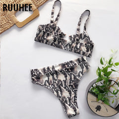 RUUHEE 2020 Bikini Swimwear Women Leopard Bathing Suit Hollow Out Bikini Set Padded Swimsuit Sexy High Waist Beachwear Biquini