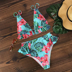 Low Waist Color Stitching Padded Halter Bikini Sets