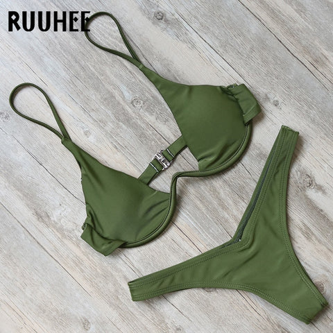 RUUHEE Bikini Swimwear Swimsuit Women Bathing Suit Sexy Brazilian Bikini Set 2018 Underwire Female Beachwear With Pad Biquini