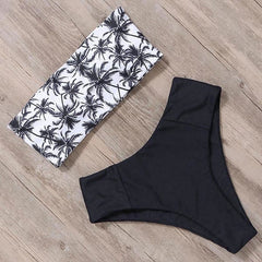 Women High Cut Bandeau Tropical Leaf Printed Strapless Swimsuits Bikini Set