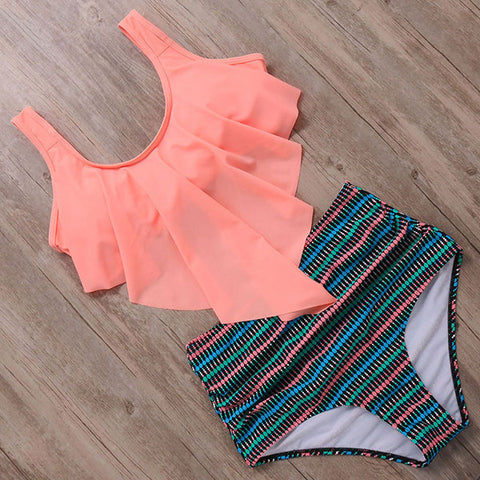 RUUHEE Bikini Swimsuit Swimwear Women Tankini High Waist Bikini Set Push Up Bathing Suit Women Beach Wear Ruffle Swimming Suit