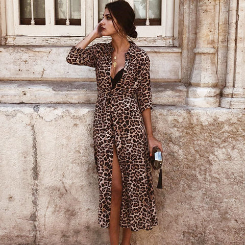 RUUHEE Women Cover-Up Leopard Snake Bikini Cover Up Swimsuit Long Beach Dress Button Bathing Suit Ladies Swimwear Beach Wear