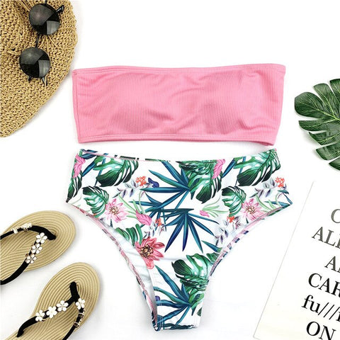 Sexy Bandeau Bikini Set Women Floral Print Swimwear Push Up Swimsuit Brazilian Biquini  Pink Bikinis Pad Bathing Suit Beachwear
