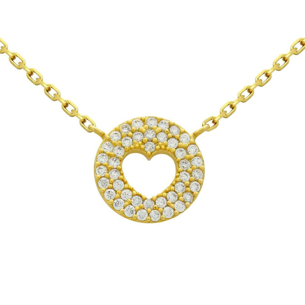 Cutout Heart with Fine CZ Pave Disc in Gold Finish - Necklace